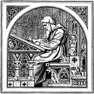 Mnich u středověkého psacího stolu.