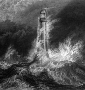 Maják na rozbouřeném moři